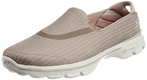 Skechers Performance Women's Go Walk 3 Slip-On Walking Shoe, Stone, 9 M US