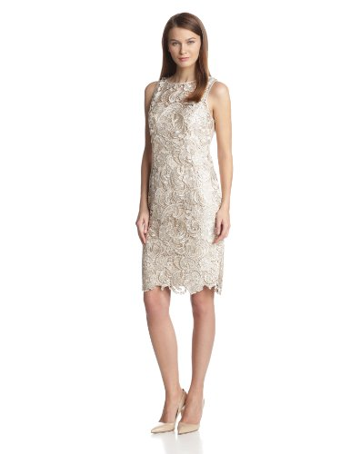 Adrianna Papell Women's Illusion Neckline Lace Dress, Champagne, 14