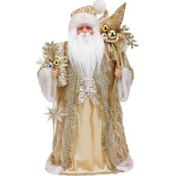 19 Gold Santa With Christmas Tree Topper, Multi-Colored