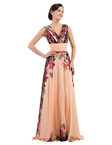 GRACE KARIN Floral Print Graceful Chiffon Prom Dress for Women (Multi-Colored) (6, Apricot V-Neck)