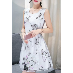 Scoop Neck  Sleeveless Floral Print Belted Organza Dress For Women