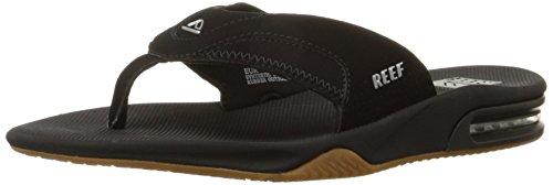 Reef Fanning Mens Sandals Bottle Opener Flip Flops for Men,Black/Silver,10 M US