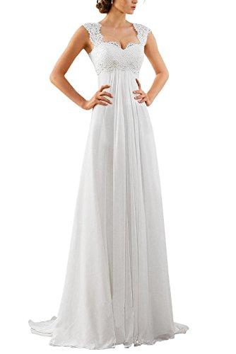 Erosebridal 2018 New Sleeveless Lace Chiffon Wedding Dress Bridal Gown Size 4 White
