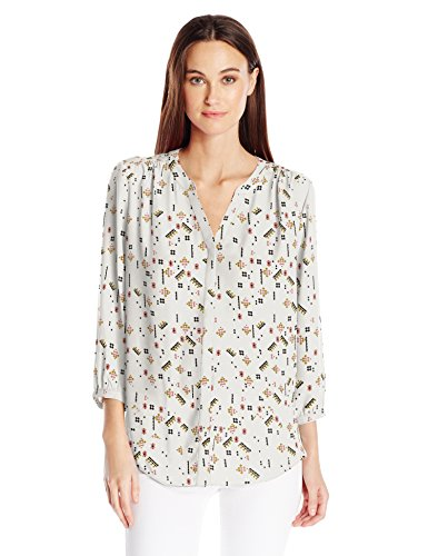 NYDJ Women's 3/4 Sleeve Pintuck Blouse, Cavalier Toss Sugar, Large