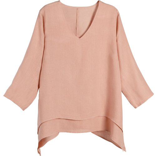 SIGNALS Women's Easy Fit Double Layer Garment Dyed Linen Tunic Top – 1X – Peach