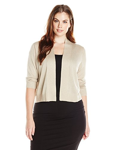 Calvin Klein Women's Plus-Size Lurex Basic Shrug, Gold, 1X