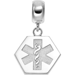 insignia collection sterling silver medical alert charm multicolor - Insignia Collection Sterling Silver Medical Alert Charm, Multicolor