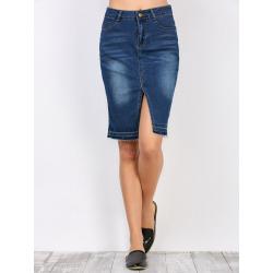 High Waisted Furcal Denim Skirt with Pockets