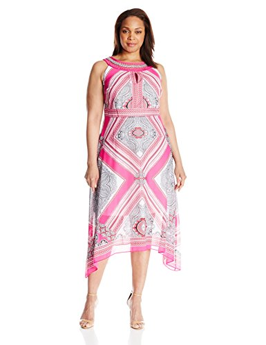 Sandra Darren Women's Plus Size Paidley Print Halter Dress, Pink/White/Black, 20W