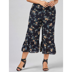 Floral Wide Leg Plus Size Pants