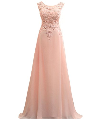 Lemai Long A Line Chiffon Lace Pearls Corset Sheer Prom Evening Dresses Blush Pink US 2