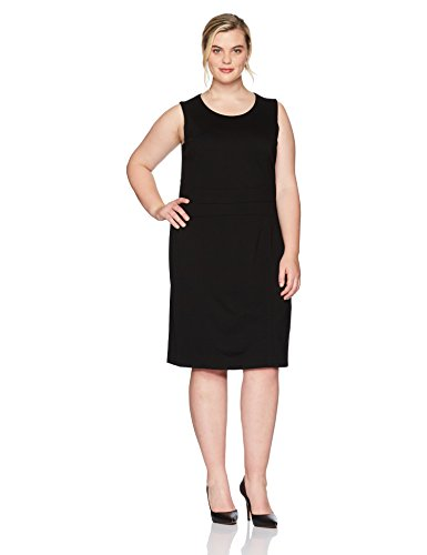 Kasper Women's Plus Size Jewel Neck Solid Sheath Dress, Black, 18W