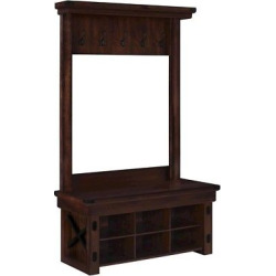 wildwood rustic entryway hall tree with bench mahogany altra dark brown - Wildwood Rustic Entryway Hall Tree with Bench - Mahogany - Altra, Dark Brown