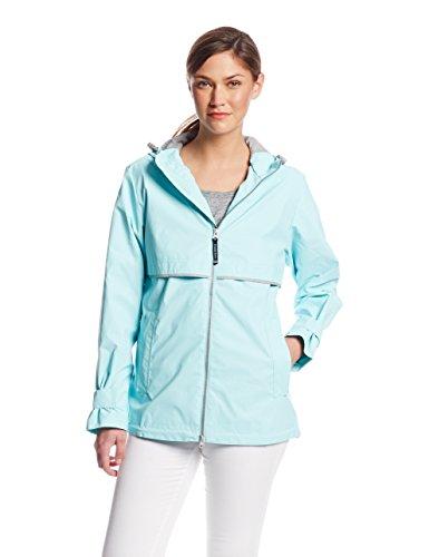 Charles River Apparel Women's New Englander Waterproof Rain Jacket, 236 Aqua/Reflective, Large