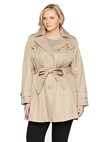 Via Spiga Women's Plus-Size Single-Breasted Belted Trench Coat with Hood, Sand, 3X