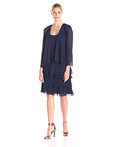 S.L. Fashions Women's Embellished Tiered Dress with Jacket, Navy, 14