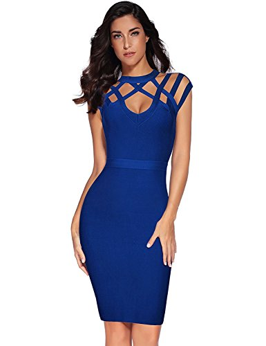 meilun Womens Rayon Hight Neck Cut Out Bandage Bodycon Dress (XL, Blue)