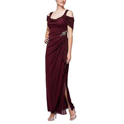 Alex Evenings Women's Plus Size Long Cold Shoulder Dress, Wine, 22W