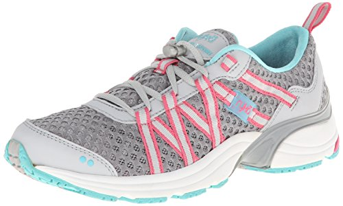 Ryka Women's Hydro Sport Water Shoe Cross-Training Shoe, Silver Cloud/Cool Mist Grey/Winter Blue/Pink, 8.5 M US