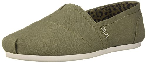 Skechers BOBS Women's Bobs Plush-Peace and Love Sneaker, Olive, 8 M US