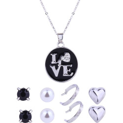 Valentine's Day Gifts Love Necklace and Stud Earrings