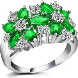 Flower Zircon Crystal Fashion Womens Ring