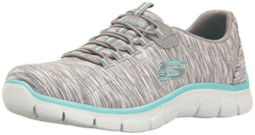 Skechers Women's Sport Empire – Rock Around Relaxed Fit Fashion Sneaker, Gray/Light Blue, 6 B(M) US