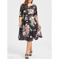 Plus Size Flower Print Empire Waist Dress