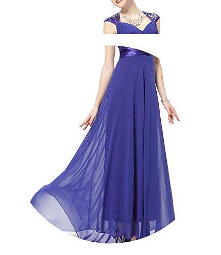 better-caress EP09672 V-Neck Empire Chiffon Sexy Long 2018 Vestidos Longo Party Evening Elegant,Sapphire Blue,10