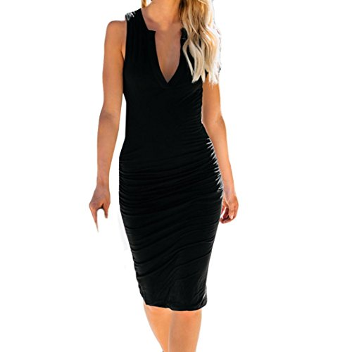 XILALU Womens Sexy V-Neck Sleeveless Ruched Solid Bodycon Sheath Pencil Cotton Blend Cocktail Casua Work Mini Dress