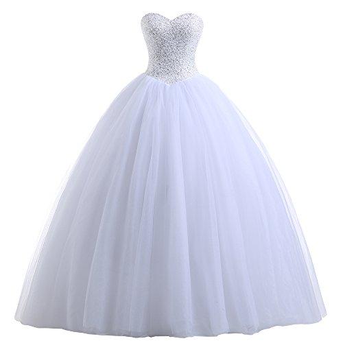 Beautyprom Women's Ball Gown Bridal Wedding Dresses (6, White)