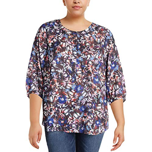 NYDJ Women's Plus Size 3/4 Sleeve Henley Pleat Back Blouse, Floral Memoirs Chocolate, 2X