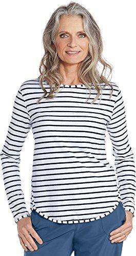Coolibar UPF 50+ Women's Heyday Side Split Shirt – Sun Protective (Large- Navy/White Stripe)