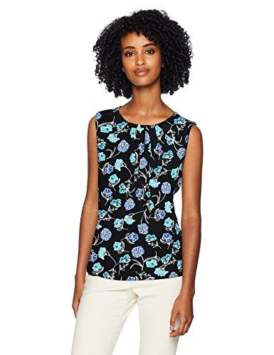 Calvin Klein Women's Printed Pleat Neck Cami, Black/Multi, XL