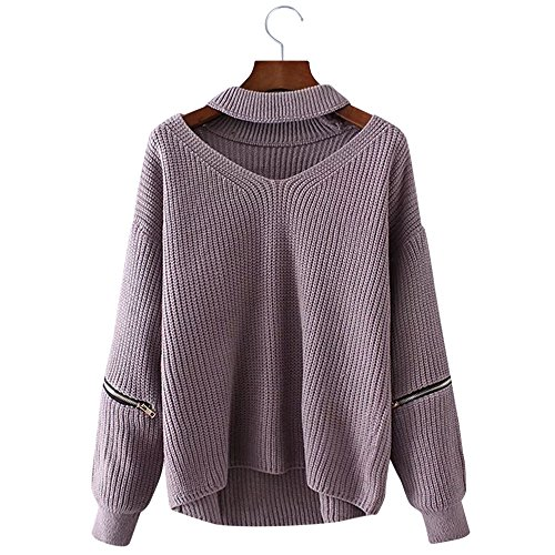 BeautyGal Women Halter Loose Knitted Chunky Choker Pullover Sweater, Light Purple, One Size