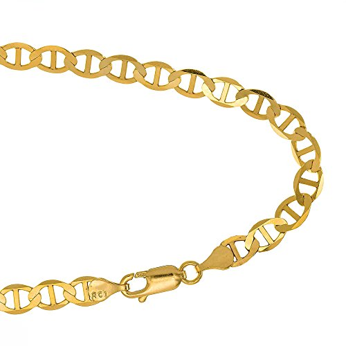 JewelStop 14k Solid Yellow Gold 3.2 mm Mariner Anklet, Lobster Claw Clasp, 2.6 gr – 10″