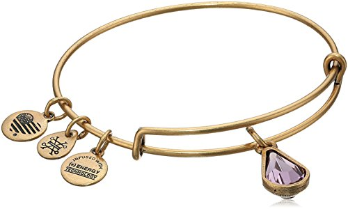 Alex and Ani June Birth Month Charm Swarovski Crystal Rafaelian Gold Bangle Bracelet