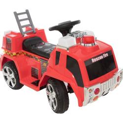 Wonderlanes 6V Rescue Fire Truck Ride-on Vehicle, Multicolor