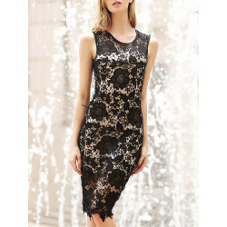 Jewel Neck Sleeveless Bodycon Lace Dress For Women
