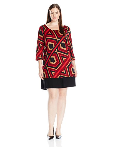 Notations Women's Plus Size 3/4 Sleeve Printed Shift Dress, Red Hex Line, 1X