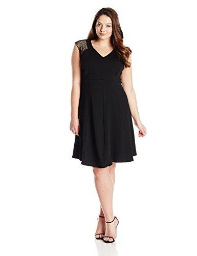 Julian Taylor Women's Plus-Size Textured Knit Dress with Shoulder Details, Black/Nude, 22