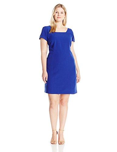 Adrianna Papell Women's Plus Size Square Neck Short Sleeve Shift Dress, Indigo Blue, 16W