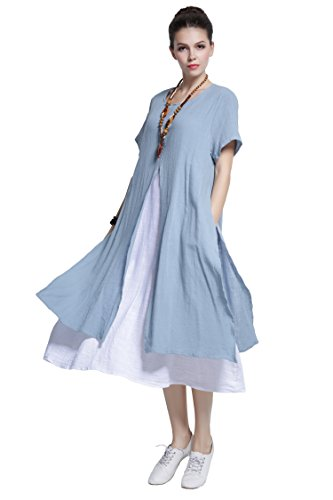 Anysize Fake-Two-Piece Soft Linen&Cotton Dress Spring Summer Plus Size Clothing Y110, Light Blue, 2X Plus, Tag 130
