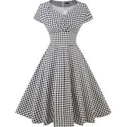 Summer Plus Size Dress Vintage Rockabilly Swing Feminino Vestidos V Neck Short Sleeves Dot Print Dress Women Retro Dress