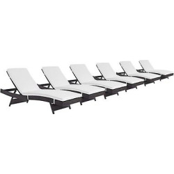 convene chaise outdoor patio set of 6 in espresso white modway - Convene Chaise Outdoor Patio Set of 6 in Espresso White - Modway