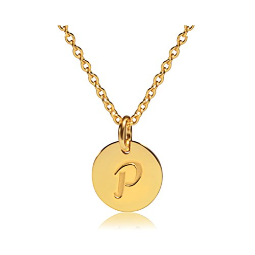 Three Keys Jewelry Stainless Steel 18k Gold Tone Initial Alphabet Disc Pendant Necklace 18″ 5cm Extension Trace Chain PD-G-P