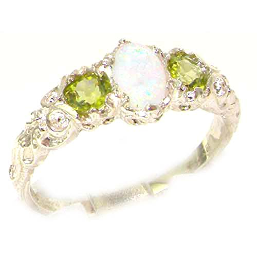 925 Sterling Silver Real Genuine Opal and Peridot Womens Band Ring – Size 7