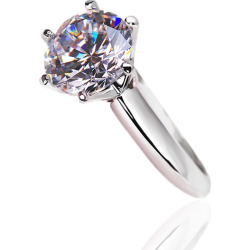 Women's White Gold Plated Round Cubic Zirconia Solitaire Wedding Engagement Ring Size 4-9