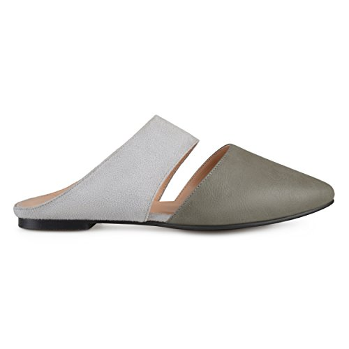 Brinley Co Womens Faux Suede Faux Leather Slip-on Mules Grey, 8.5 Regular US