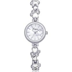 Lvpai P256 Two-Tone Analog Quartz Alloy Bracelet Heart Wrist Watch